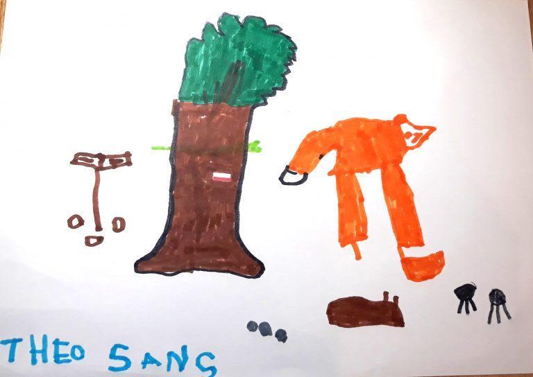 dessin d'enfant avec arbre et renard